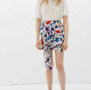 Zara Watercolor Design Asymmetrical Tie Skirt